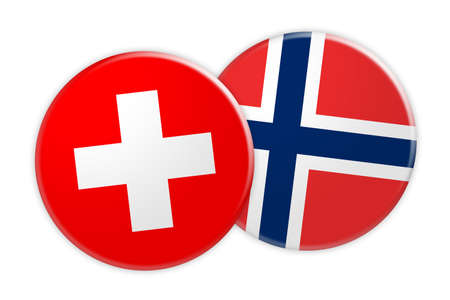 News Concept: Switzerland Flag Button On Norway Flag Button, 3d illustration on white background Stock Photo