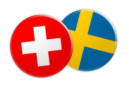 News Concept: Switzerland Flag Button On Sweden Flag Button, 3d illustration on white background