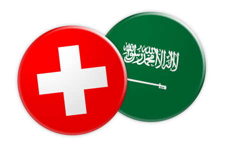 News Concept: Switzerland Flag Button On Saudi Arabia Flag Button, 3d illustration on white background