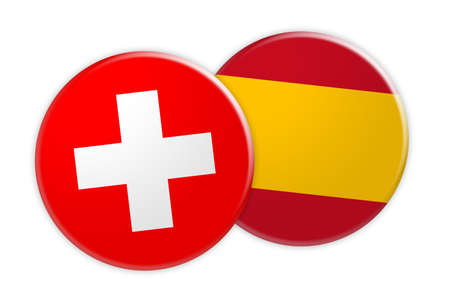 News Concept: Switzerland Flag Button On Spain Flag Button, 3d illustration on white background Stock Photo