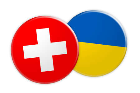 rival: News Concept: Switzerland Flag Button On Ukraine Flag Button, 3d illustration on white background