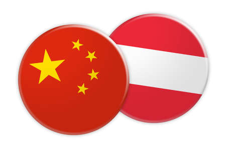 asian business: News Concept: China Flag Button On Austria Flag Button 3d illustration on white background