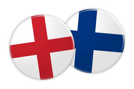 rival: News Concept: England Flag Button On Finland Flag Button, 3d illustration on white background