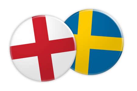 News Concept: England Flag Button On Sweden Flag Button, 3d illustration on white background Stock Photo