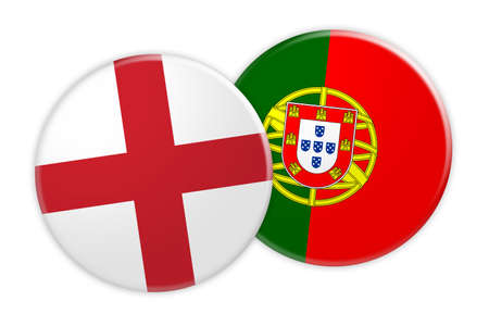 treaty: News Concept: England Flag Button On Portugal Flag Button, 3d illustration on white background