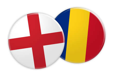 News Concept: England Flag Button On Romania Flag Button, 3d illustration on white background