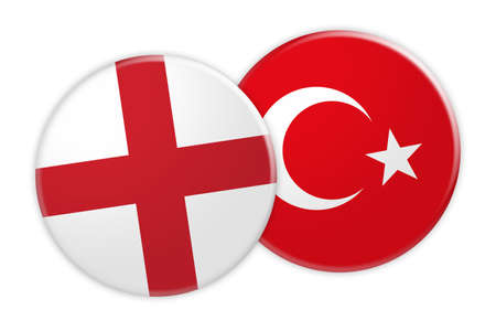 rival: News Concept: England Flag Button On Turkey Flag Button, 3d illustration on white background