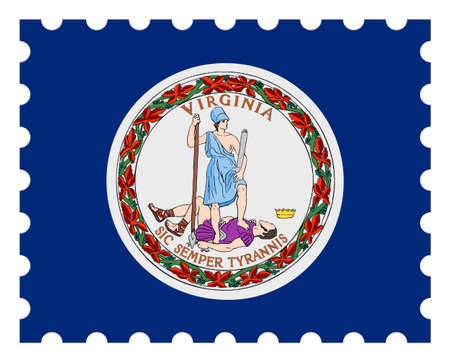 Virginia Flag Postage Stamp, 3d illustration on white background