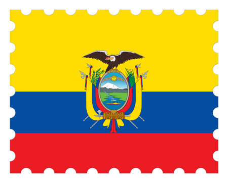 postage: Ecuador Flag Postage Stamp, 3d illustration on white background Stock Photo