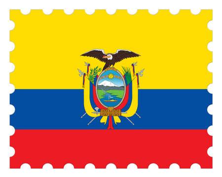 Ecuador Flag Postage Stamp, 3d illustration on white background Stock Photo