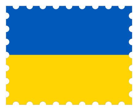 Ukraine Flag Postage Stamp, 3d illustration on white background