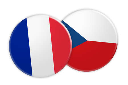 News Concept: France Flag Button On Czech Republic Flag Button, 3d illustration on white background