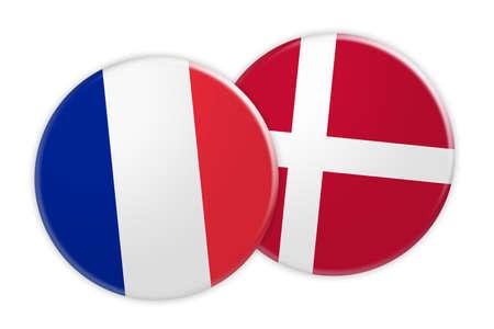 danish flag: News Concept: France Flag Button On Denmark Flag Button, 3d illustration on white background