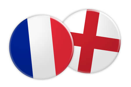 News Concept: France Flag Button On England Flag Button, 3d illustration on white background