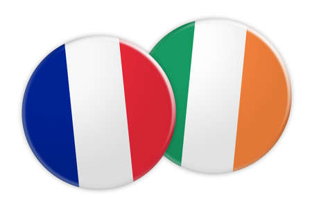 treaty: News Concept: France Flag Button On Ireland Flag Button, 3d illustration on white background