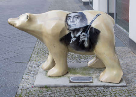 salvador dali museum: BERLIN, GERMANY - JULY 9, 2017: Buddy Bear At The Entrance of The Dali Exhibition At Potsdamer Platz In Berlin