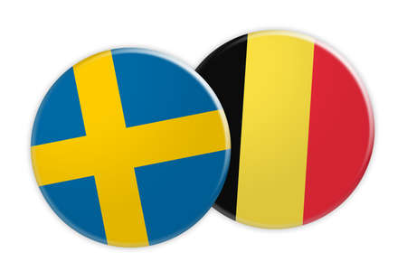 News Concept: Sweden Flag Button On Belgium Flag Button, 3d illustration on white background