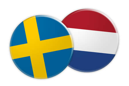 treaty: News Concept: Sweden Flag Button On Netherlands Flag Button, 3d illustration on white background Stock Photo