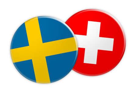 News Concept: Sweden Flag Button On Switzerland Flag Button, 3d illustration on white background