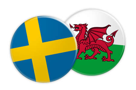 News Concept: Sweden Flag Button On Wales Flag Button, 3d illustration on white background