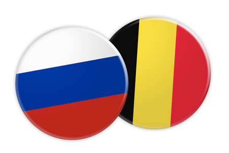 News Concept: Russia Flag Button On Belgium Flag Button, 3d illustration on white background Stock Photo