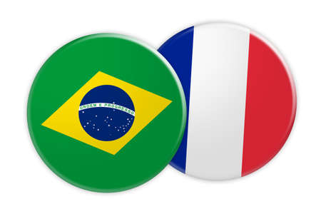 News Concept: Brazil Flag Button On France Flag Button, 3d illustration on white background Stock Photo