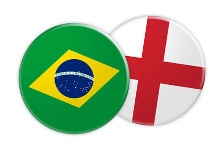 News Concept: Brazil Flag Button On England Flag Button, 3d illustration on white background
