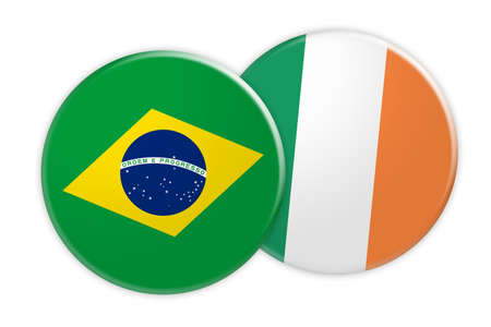 News Concept: Brazil Flag Button On Ireland Flag Button, 3d illustration on white background