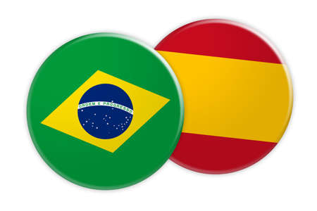 News Concept: Brazil Flag Button On Spain Flag Button, 3d illustration on white background