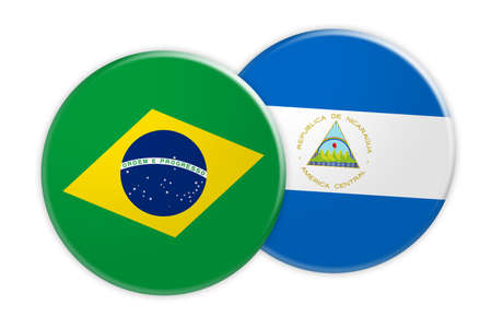 News Concept: Brazil Flag Button On Nicaragua Flag Button, 3d illustration on white background