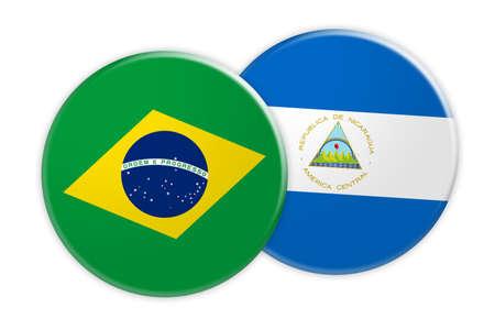 News Concept: Brazil Flag Button On Nicaragua Flag Button, 3d illustration on white background