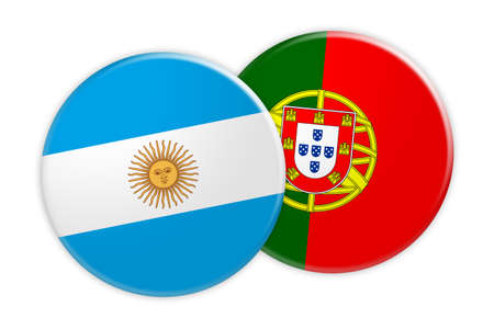 News Concept: Argentina Flag Button On Portugal Flag Button, 3d illustration on white background