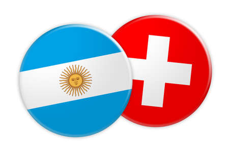 News Concept: Argentina Flag Button On Switzerland Flag Button, 3d illustration on white background Stock Photo