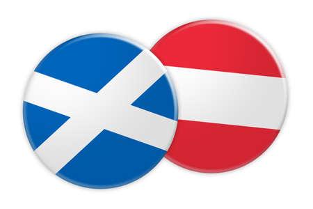News Concept: Scotland Flag Button On Austria Flag Button, 3d illustration on white background