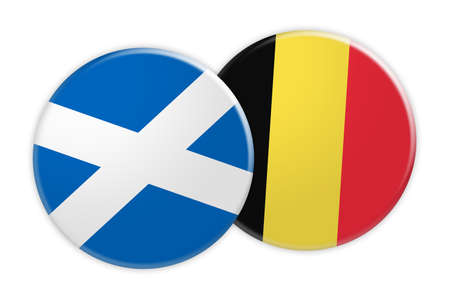 News Concept: Scotland Flag Button On Belgium Flag Button, 3d illustration on white background