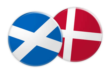 News Concept: Scotland Flag Button On Denmark Flag Button, 3d illustration on white background Stock Photo