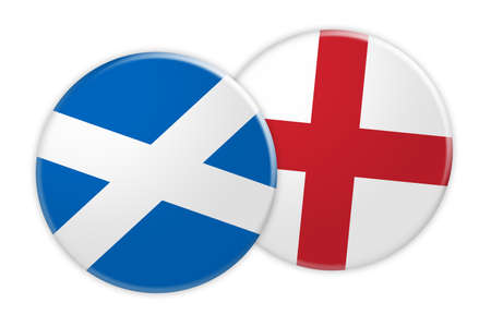 News Concept: Scotland Flag Button On England Flag Button, 3d illustration on white background