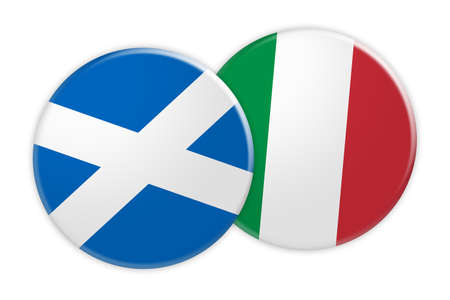 News Concept: Scotland Flag Button On Italy Flag Button, 3d illustration on white background