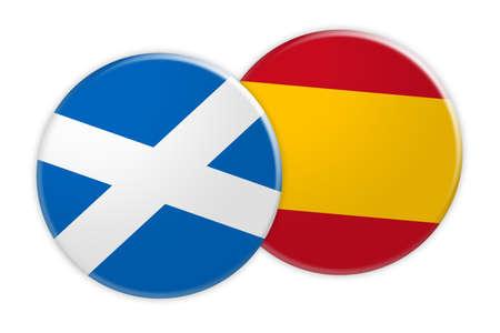 News Concept: Scotland Flag Button On Spain Flag Button, 3d illustration on white background