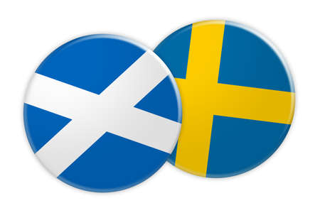 News Concept: Scotland Flag Button On Sweden Flag Button, 3d illustration on white background Stock Photo