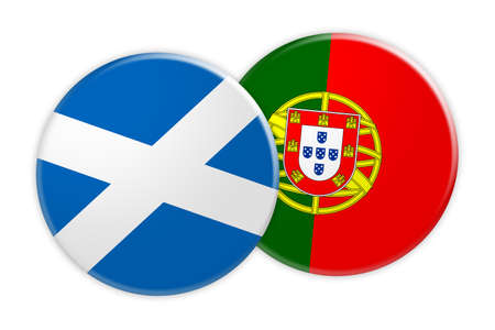 News Concept: Scotland Flag Button On Portugal Flag Button, 3d illustration on white background