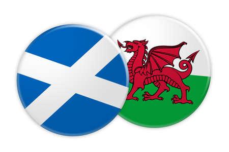 Concetto di notizie: Bottone della bandiera della Scozia sul bottone della bandiera di Galles, illustrazione 3d su fondo bianco