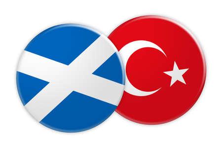 News Concept: Scotland Flag Button On Turkey Flag Button, 3d illustration on white background Stock Photo