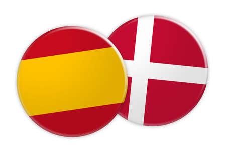 News Concept: Spain Flag Button On Denmark Flag Button, 3d illustration on white background