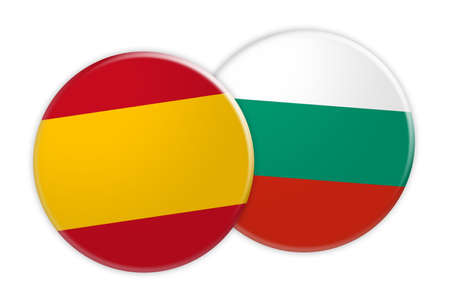 News Concept: Spain Flag Button On Bulgaria Flag Button, 3d illustration on white background Stock Photo