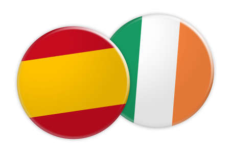 News Concept: Spain Flag Button On Ireland Flag Button, 3d illustration on white background