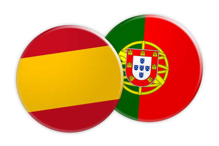 News Concept: Spain Flag Button On Portugal Flag Button, 3d illustration on white background