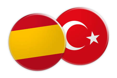 News Concept: Spain Flag Button On Turkey Flag Button, 3d illustration on white background