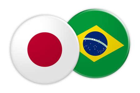 News Concept: Japan Flag Button On Brazil Flag Button, 3d illustration on white background Stock Photo