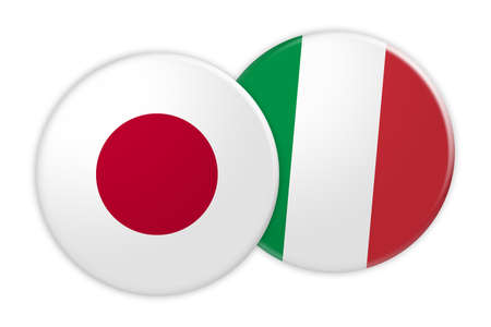 News Concept: Japan Flag Button On Italy Flag Button, 3d illustration on white background